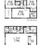 新潟市中央区南笹口2号棟の新築住宅の間取図