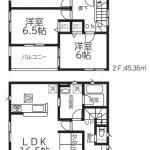 新潟市北区松浜新町の新築住宅2号棟の間取図