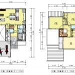 新発田市舟入町の【土地《全3区画》】のセットプラン例の1・2階間取図