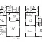 東区北葉町の新築住宅の間取図