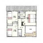 胎内市中条の【土地】の建物プラン例の2階間取図