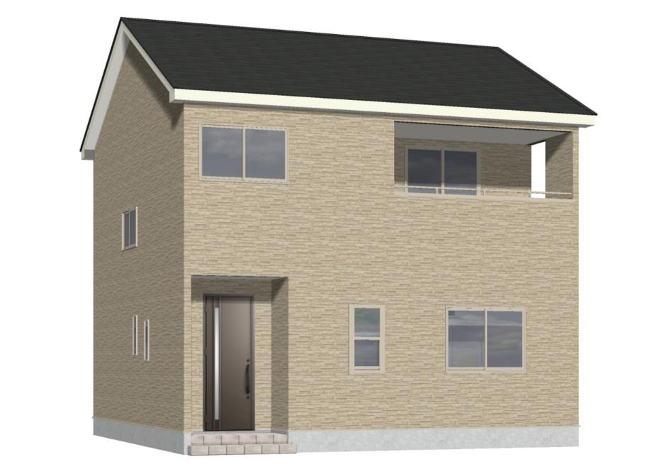 新潟市東区浜谷町の新築住宅の外観完成予定パース