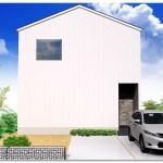 新潟市江南区所島の【分譲地】区画②の建物プラン例1の外観パース