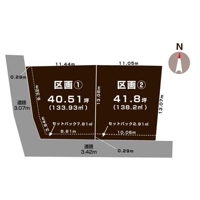 新潟市江南区城所の【分譲地】の敷地図