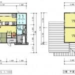 新潟市西区坂井の【土地】の建物プラン例の1階・2階間取り図