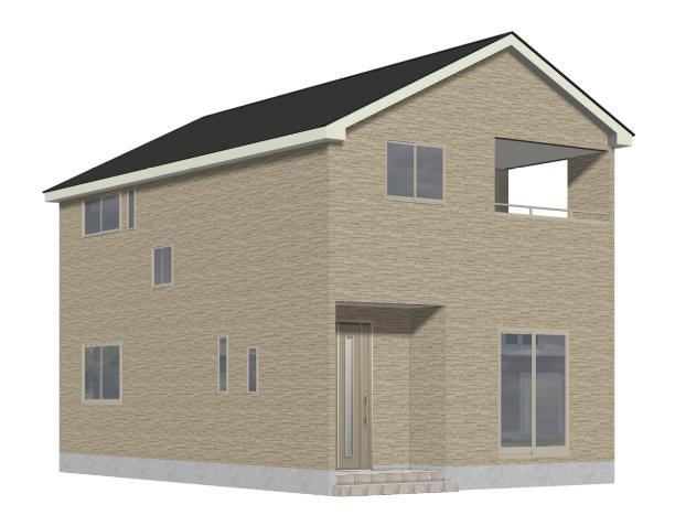 新潟市北区嘉山の新築住宅1号棟の外観完成予定パース