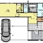 新潟市西区坂井の【土地】の建物プラン例の1階間取り図