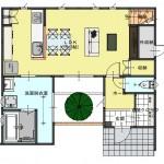 新潟市江南区城所の【分譲地】区画1の建物プラン例の1階間取図