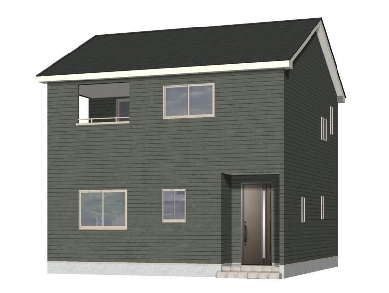 新潟市西区西小針台の新築住宅1号棟の外観完成予定パース