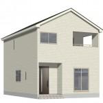 新潟市北区松浜の新築住宅の外観完成予定パース