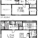 新潟市北区嘉山の新築住宅1号棟の間取図