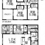 新潟市北区早通北の新築住宅1号棟の間取図
