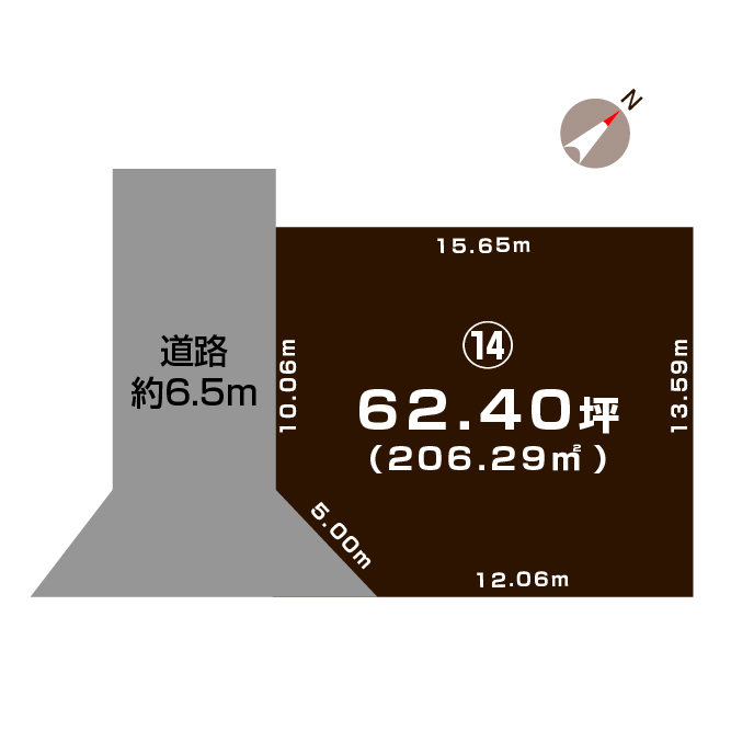 長岡市下山の土地の敷地図(敷地図)