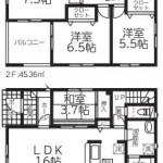新潟市北区嘉山の新築住宅2号棟の間取図