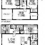 新潟市北区早通北の新築住宅2号棟の間取図