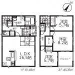 新潟市西区西小針台の新築住宅2号棟の間取図