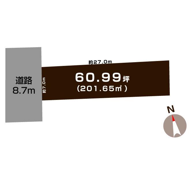 新潟市中央区沼垂西の【土地】の敷地図