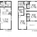 新潟市東区中山の新築住宅1号棟の間取図
