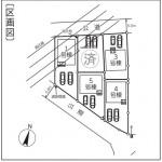 新潟市東区中山の新築住宅の配置図