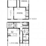 新潟市秋葉区新金沢町の新築住宅2号棟の間取図