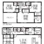 新潟市西区坂井の新築住宅2号棟の間取図