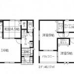 新潟市東区紫竹の新築住宅1号棟の間取図