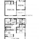 新潟市東区紫竹の新築住宅2号棟の間取図