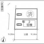 新潟市西区坂井の新築住宅の配置図