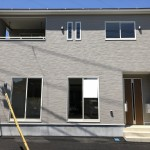 新潟市東区紫竹の新築住宅1号棟の外観完成予定パース