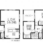 新潟市東区中山の新築住宅2号棟の間取図