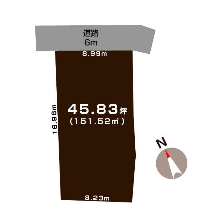 新潟市中央区古町通十三番町の土地の敷地図