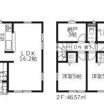 新発田市御幸町の新築住宅4号棟の間取図
