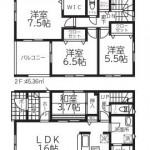 新潟市西区坂井の新築住宅1号棟の間取図