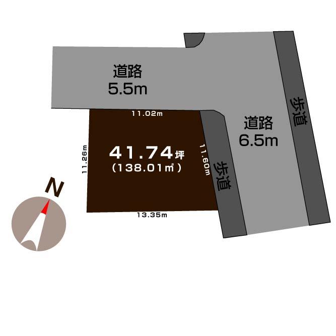新潟市東区大山の土地の敷地図