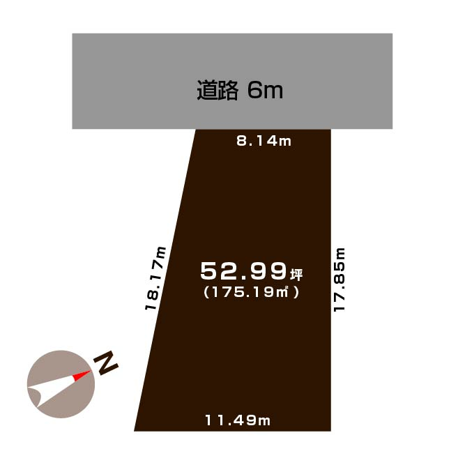 新潟市東区海老ケ瀬新町の土地の敷地図