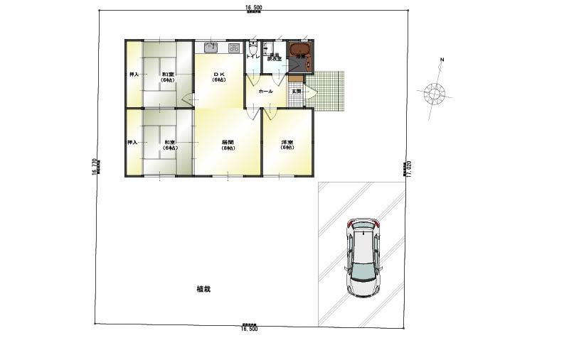 新潟市北区内島見の中古住宅の間取図
