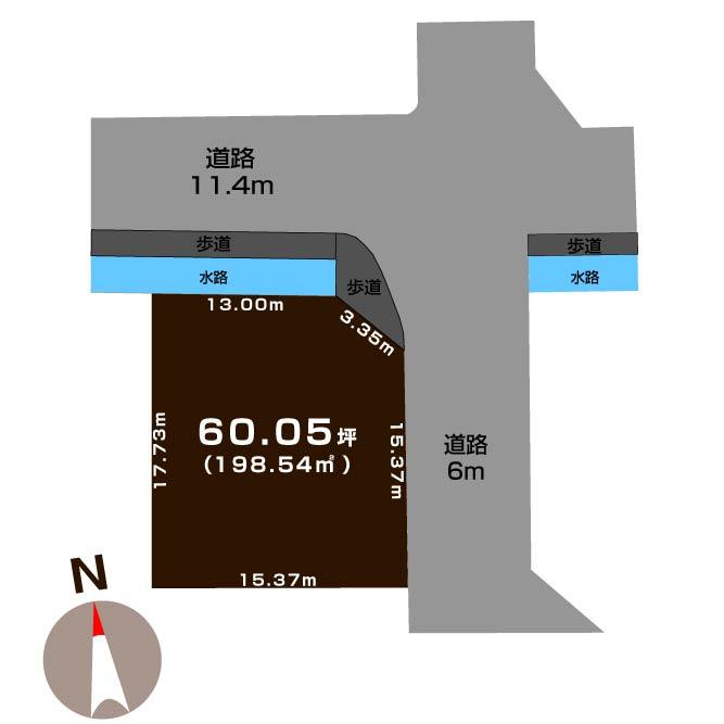 新発田市城北町の土地の敷地図
