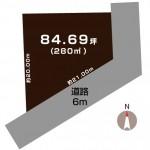 燕市砂子塚の土地の敷地図(敷地図)