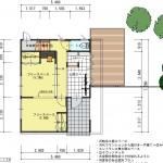 新潟市中央区南万代町土地の建物プラン例③の1階間取り図