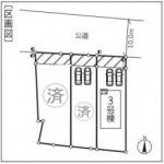 新潟市秋葉区大鹿の新築住宅の配置図