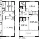 新潟市秋葉区大鹿の新築住宅2号棟の間取図