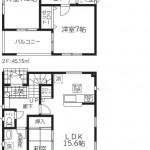 新潟市秋葉区大鹿の新築住宅1号棟の間取図