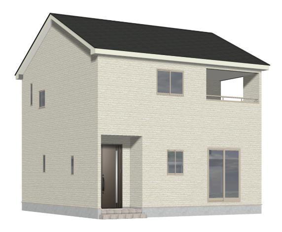 新潟市江南区旭の新築住宅(1号棟)の外観完成予定パース