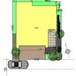 新潟市中央区南万代町土地の建物プラン例①の配置図