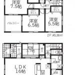 新潟市江南区旭の新築住宅(2号棟)の間取図