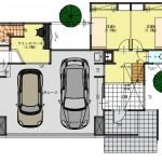新潟市中央区南万代町土地の建物プラン例②の1階間取り図