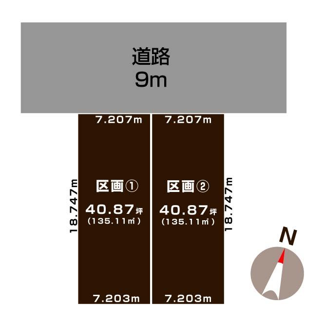 新潟市北区太夫浜新町の【分譲地《全2区画》】の敷地図