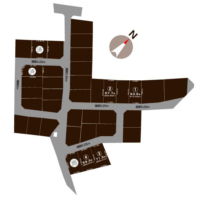 北蒲原郡聖籠町山大夫の【分譲地《全7区画》】の敷地図
