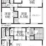 新潟市西区寺尾台の新築住宅1号棟の間取図