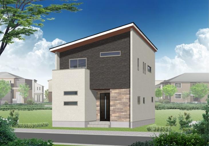 新潟市中央区女池の新築住宅【A棟】の外観完成予定パース